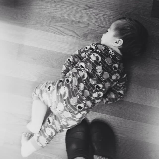 Someone learned how to fling himself on the floor to throw a fit #funtimes #tooearly #isitnaptimeyet #jonjon