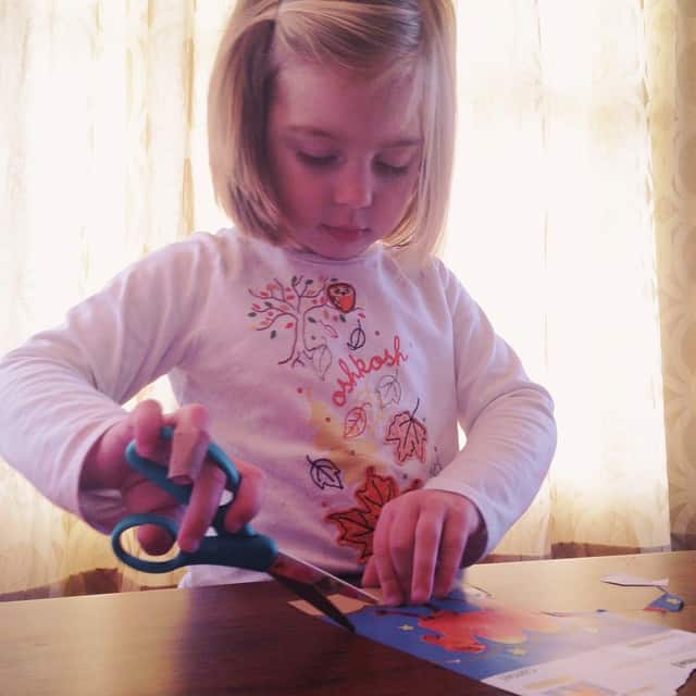 It's always scary to hand the toddler a pair of scissors the day after she gets a haircut #weonlycutpaper #watchingherlikeahawk #EmilyLillian