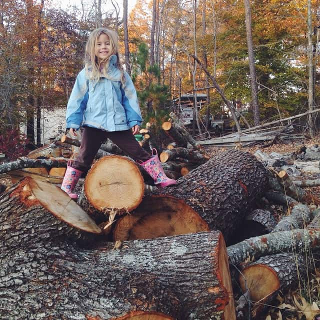 Climbing the pile of logs... Irresistible #queenofthelogpile #peytonruth