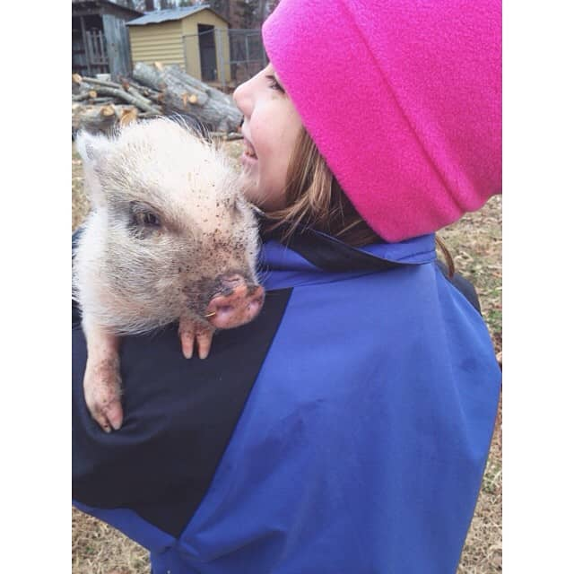 She carries #cloverthepig like a baby. #spoiledpiggy #miriamalayna #countrylife