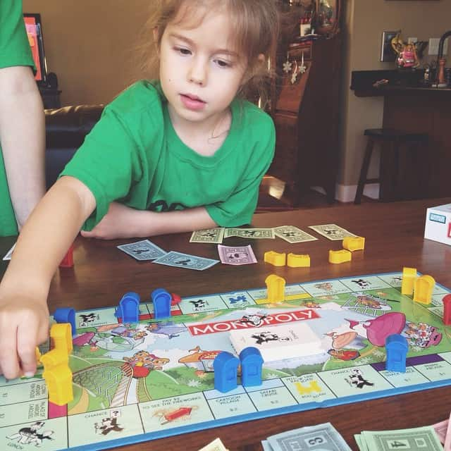 Saturday afternoon game time #peytonruth #monopolyjr