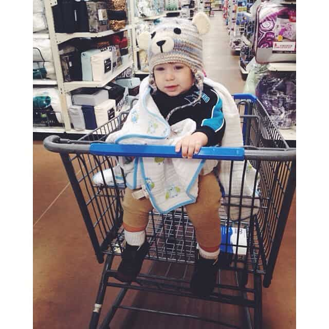 One of my shopping buddies this morning #jonjon #latergram Thank you @bjrd40 for his precious and warm hat! #babybearcub