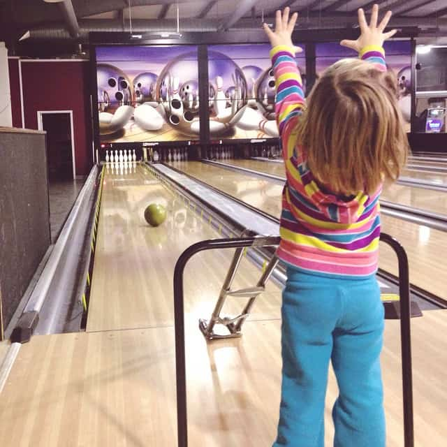 Bowling fun tonight! I bowled a 53... They all whooped me! Most by over 50 points. This time I didn't even have a baby on my back as an excuse. #needlessons #cantbegoodateverything #bowling #EmilyLillian #familyfun