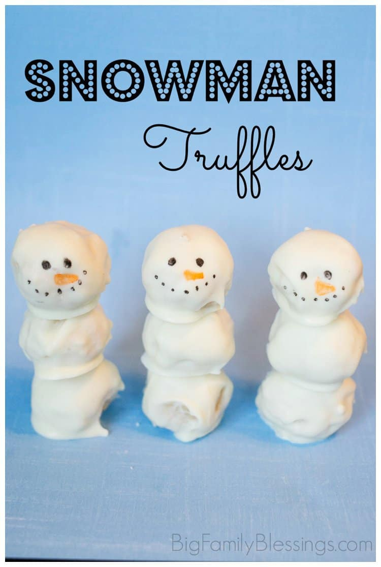 Snowman Truffles- easy, fun and yummy!! from Big Family Blessings