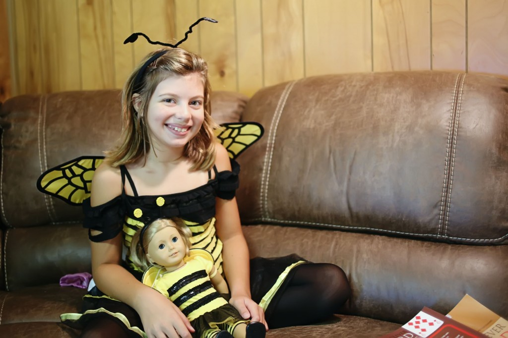 Bee halloween costume with matching doll costume