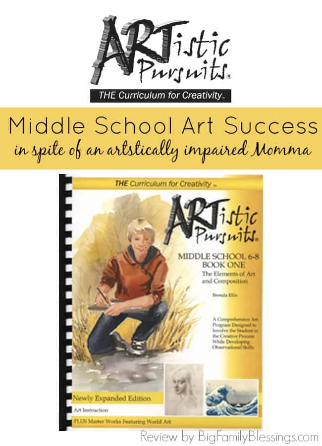 Homeschool middle school art success in spite of an artistically impaired Momma. Homeschool art curriculum review of artistic pursuits middle school book one The Elements of Art and Composition