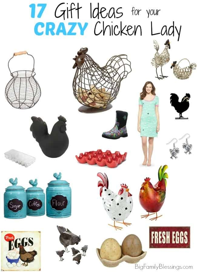17 Great Gift Ideas for the Crazy Chicken Lady in your life. Gift ideas for the chicken coop, the home, the yard and Mom too! Perfect ideas for Mother's Day, Mom's birthday, or any holiday! Are you a chicken lover or a chicken owner? You are gonna love these cute gift ideas!