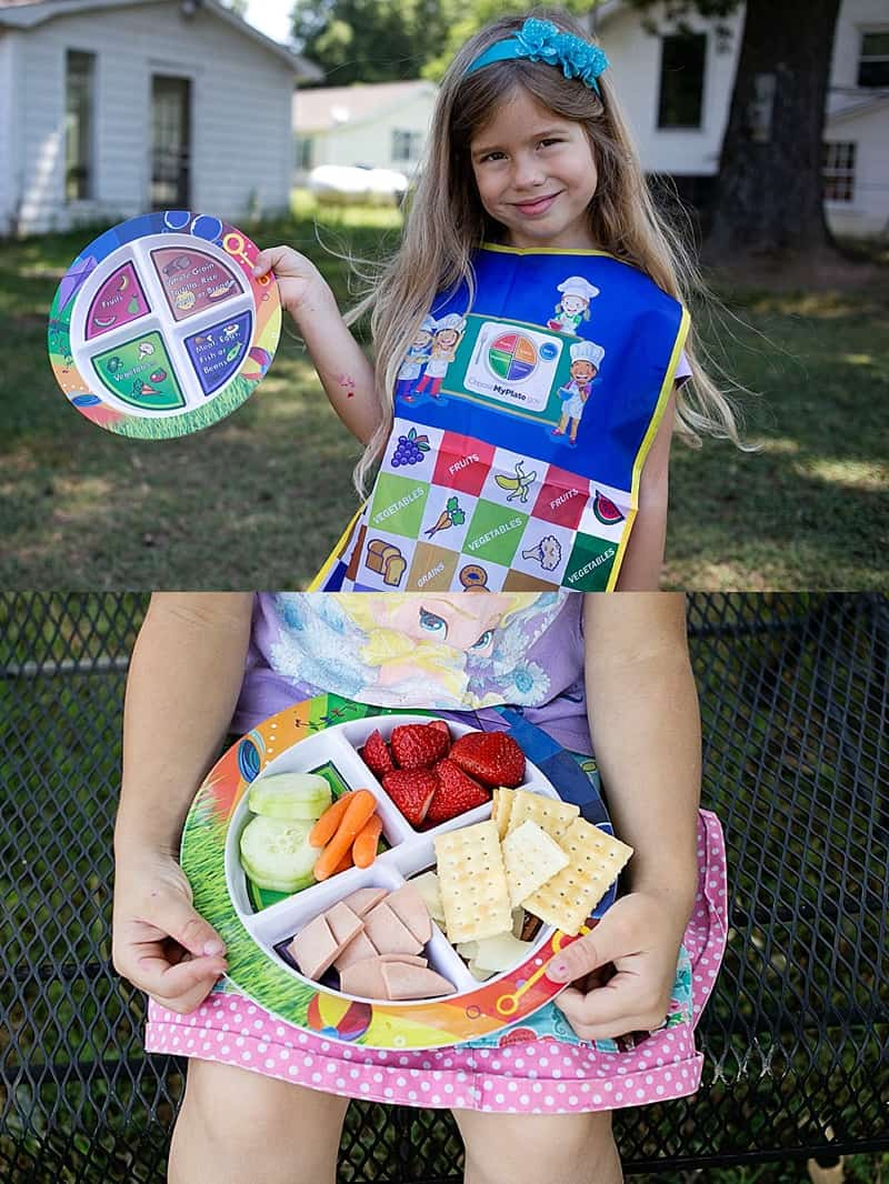 Healthy Eating Starts with MyPlate from Fresh Baby. This fun colorful plate makes serving a balanced meal to your toddler or preschooler a breeze. Great for my picky eater! Enter to win your own MyPlate set and Apron!