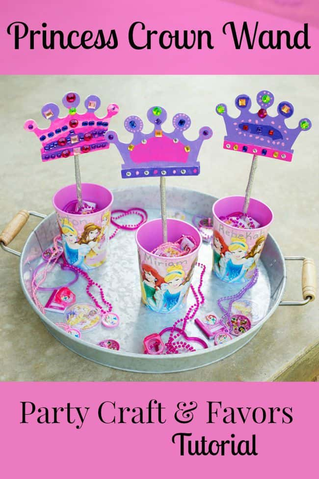 Disney Princess Crown Wand Party Favor and Craft Tutorial