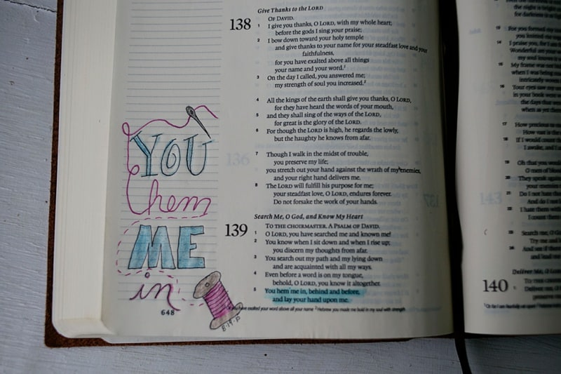 Bible Journaling Devotional You Hem Me In