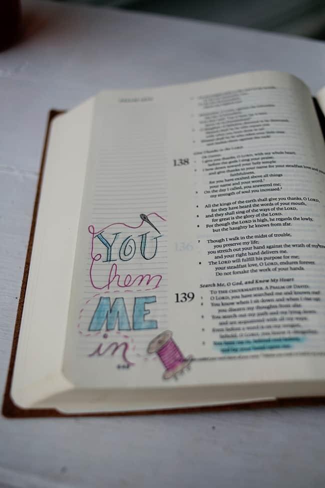 Bible Journaling Devotional You Hem Me In
