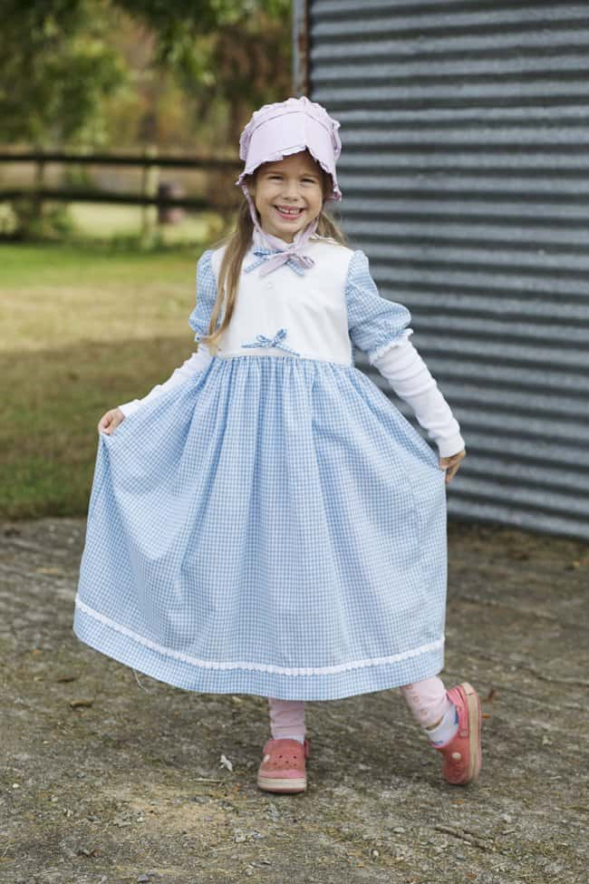 Pioneer dress made by her great grandma