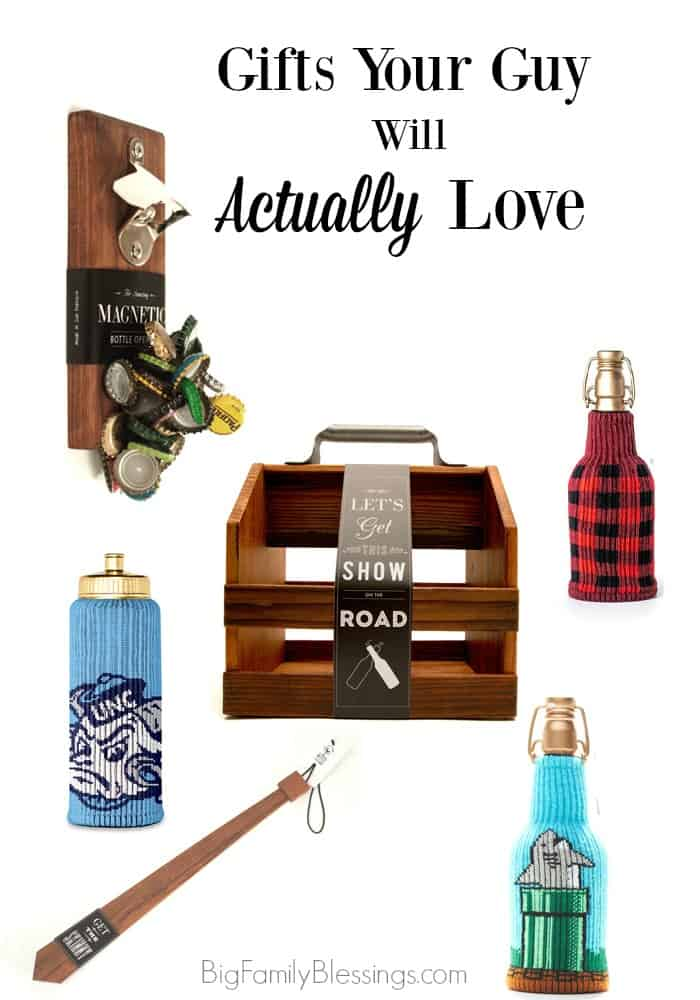 Gifts Your Guy will Actually Love- and coupons codes to buy them with! Perfect for husbands, boyfriends, brothers, dads, or any hard to buy for guy in your life!