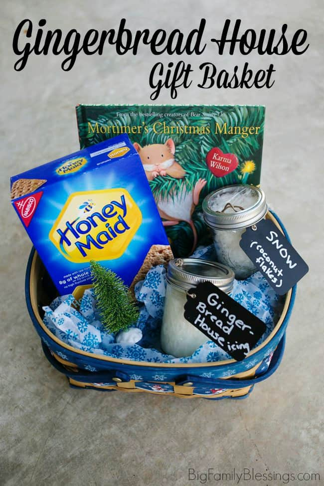 Give the give of a great memory by gifting this DIY gingerbread house gift basket. It includes an amazing Christmas story, Mortimer's Christmas Manger and an easy DIY gingerbread house kit for a fun family activity.