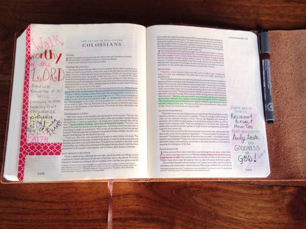 Washi Tape in Bible Journal