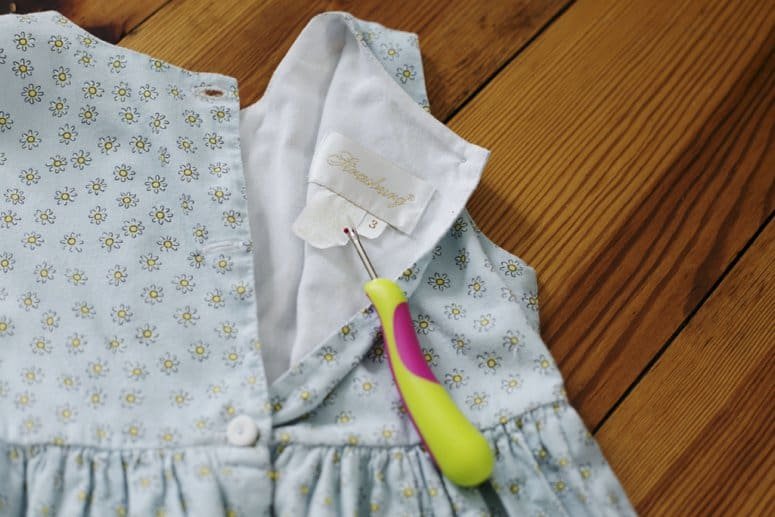 Clothes pin holder out of baby dress