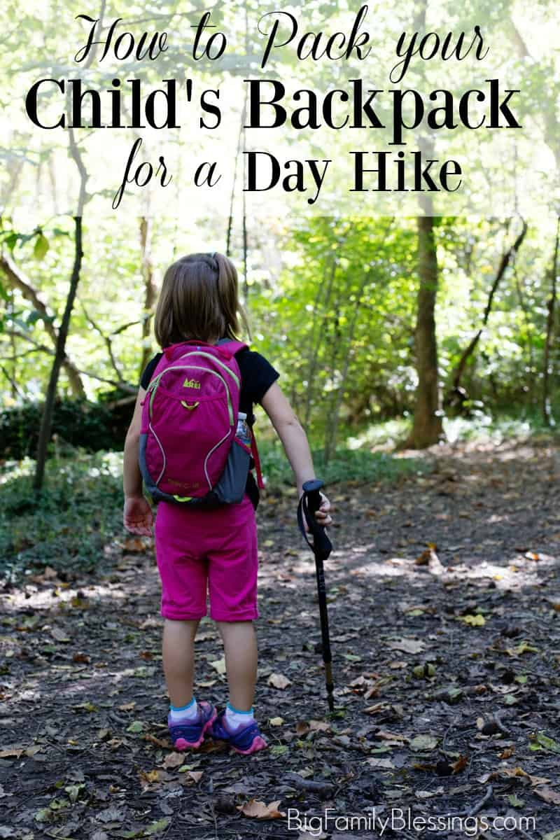Wonder what you should pack in your child's day hiking backpack? While it is easy for an adult to carry the entire load while hiking, it is important for children to carry their own backpacks, even on short day hikes. Children feel important when they are 'needed' to help carry supplies on a hike, but it's also best for their safety. Should your child get separated from you while hiking, having her own water, food, and other supplies is best.