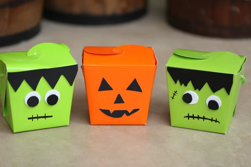 DIY Pumpkin and Frankenstein Halloween Treat Box great for party favors or BOO'ing