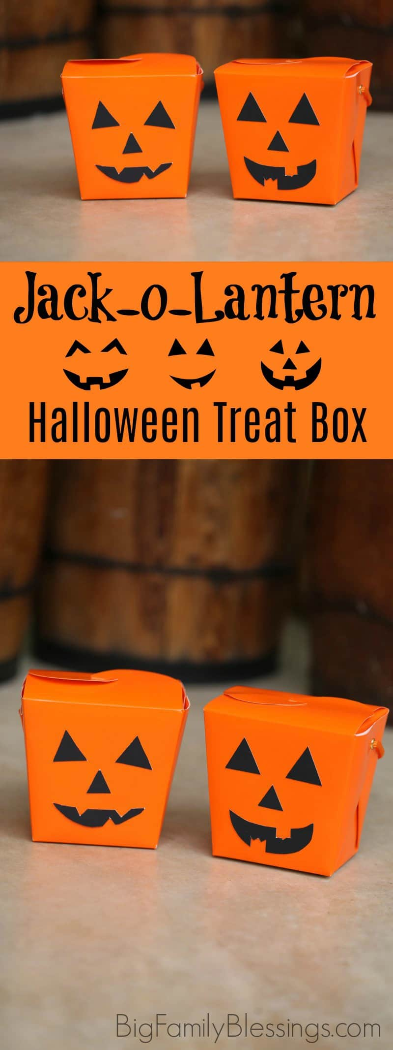 DIY Jack-o-lantern Halloween Treat Box perfect halloween boo'ing container. DIY halloween pumpkin craft for kids.