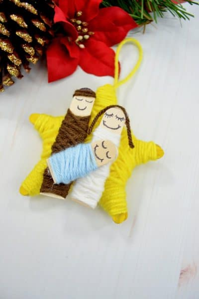 DIY Yarn Wrapped Nativity Christmas Ornament