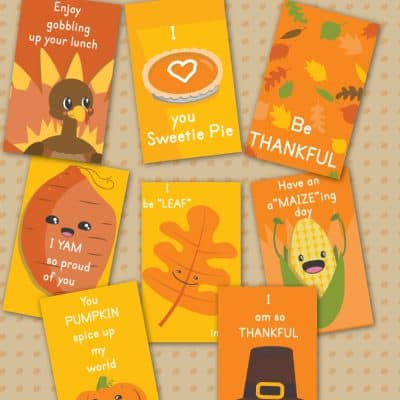 Printable Thanksgiving Lunch Box Notes