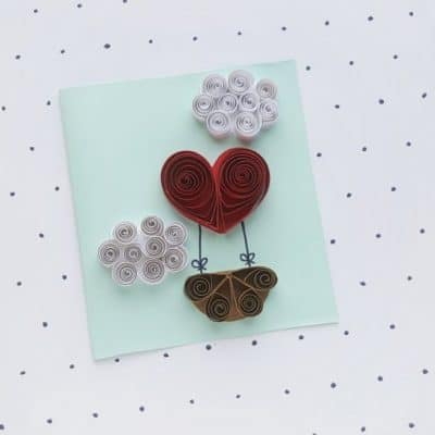DIY Quilled Heart Hot Air Balloon Valentine's Day Card