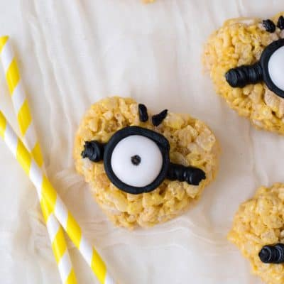 Minion Inspired Valentine's Day Rice Krispie Treats