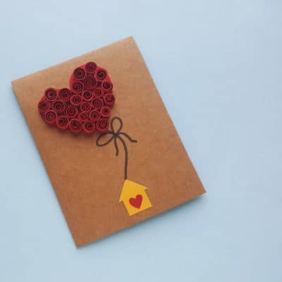 DIY Quilled Heart Balloon Card