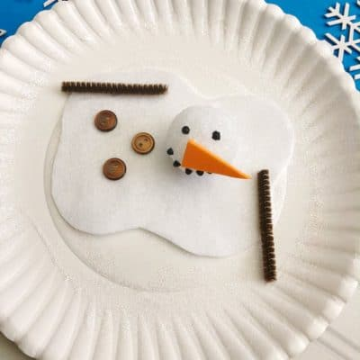 Easy & Adorable Melted Snowman Paper Plate Craft