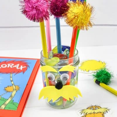 Lorax Pencil Jar with Truffula Tree Pencils – Dr. Seuss Day Craft