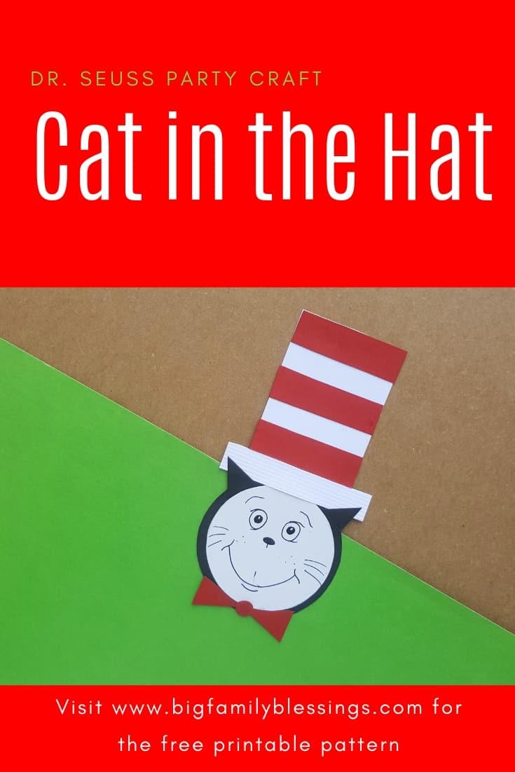 photograph regarding Dr. Seuss Hats Printable called Dr. Seuss Cat inside the Hat Craft