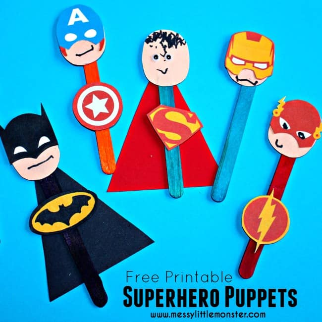 superhero craft for kids- puppets