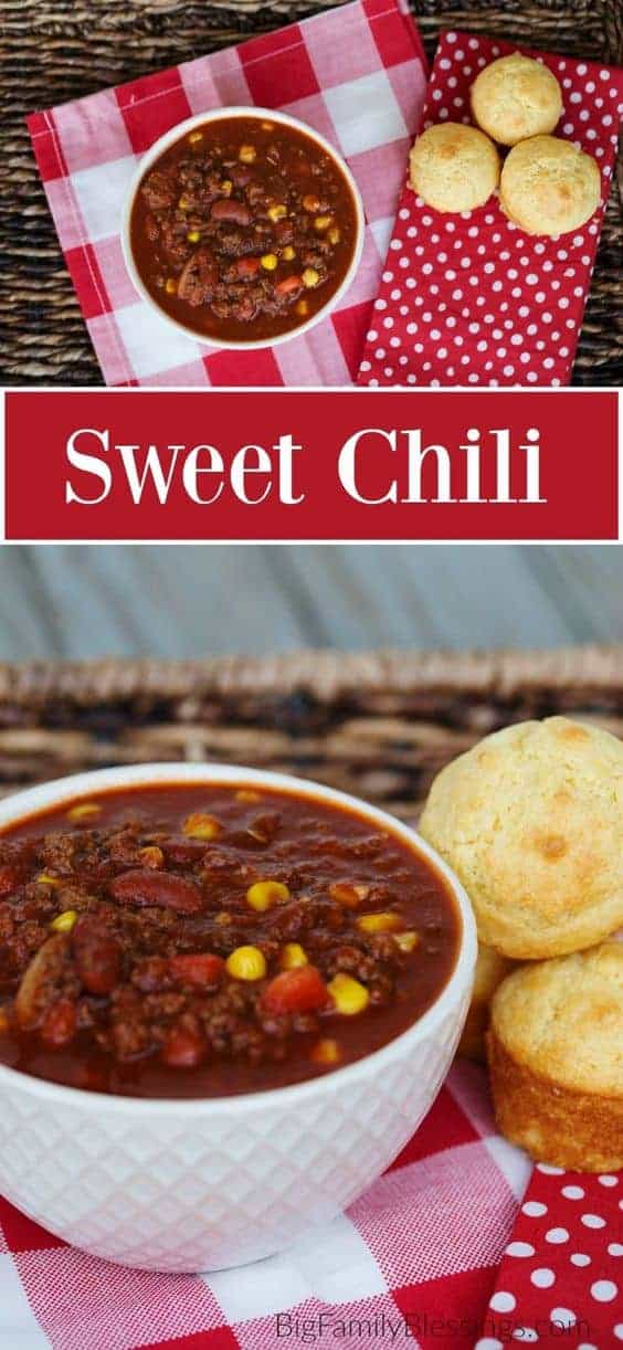 This sweet chili recipe is the perfect combination of sweet with a little kick- it's the ultimate cold weather comfort food. Chili with Brown Sugar #sweetchili #chili