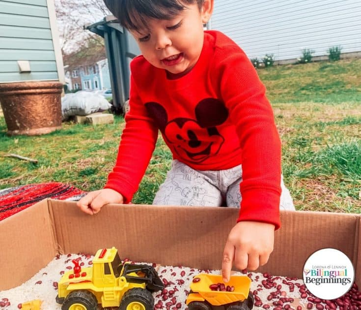 Mar 25 Construction Zone Sensory Bean Box for Toddlers and Preschoolers