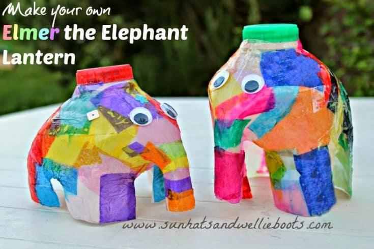 Elmer the Elephant Lantern - made from a Milk Bottle!