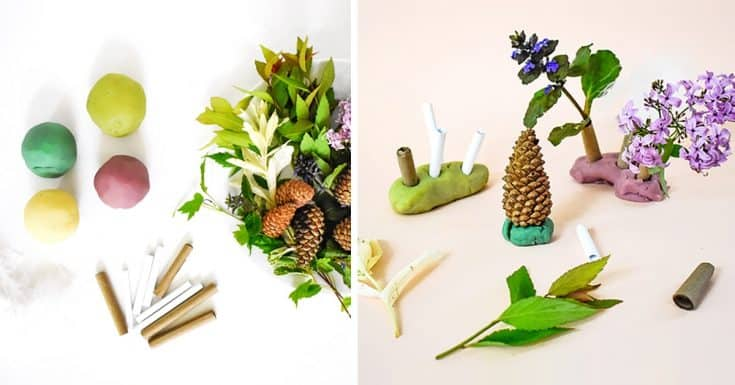 Make: Paper Straw and Play Dough Fairy Forests