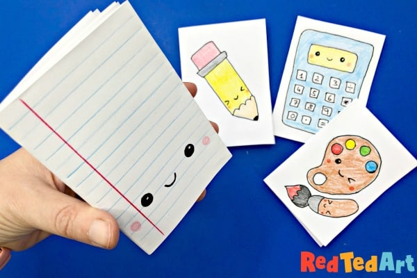 Mini School Supplies Notebook Craft - Study Aid - Red Ted Art