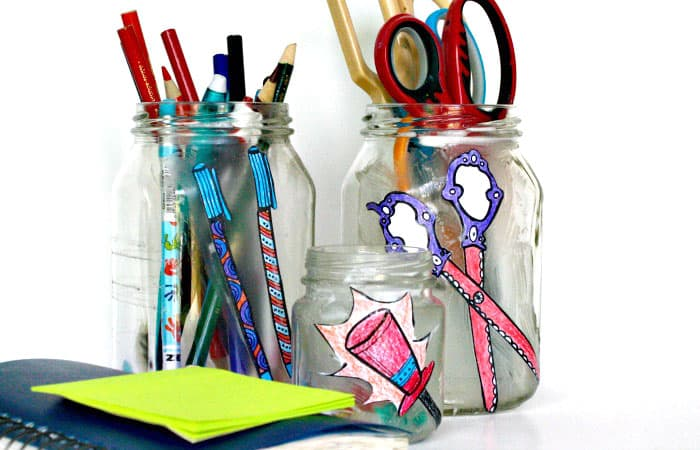 Desk Jar Organizers using coloring pages