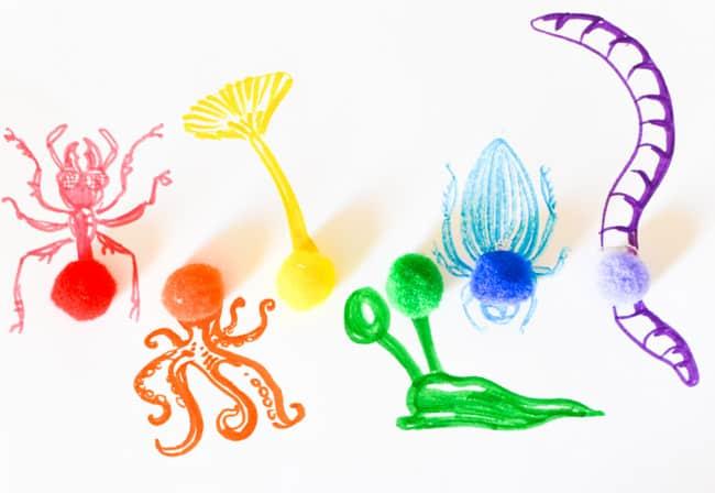 Rainbow Pompom Drawing Prompt
