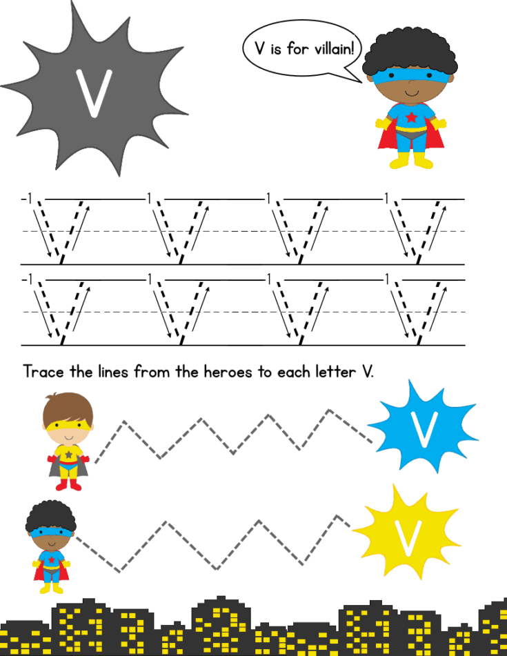 Super Hero Letter Tracing Pack