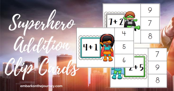 Superhero Math Addition Clip Cards