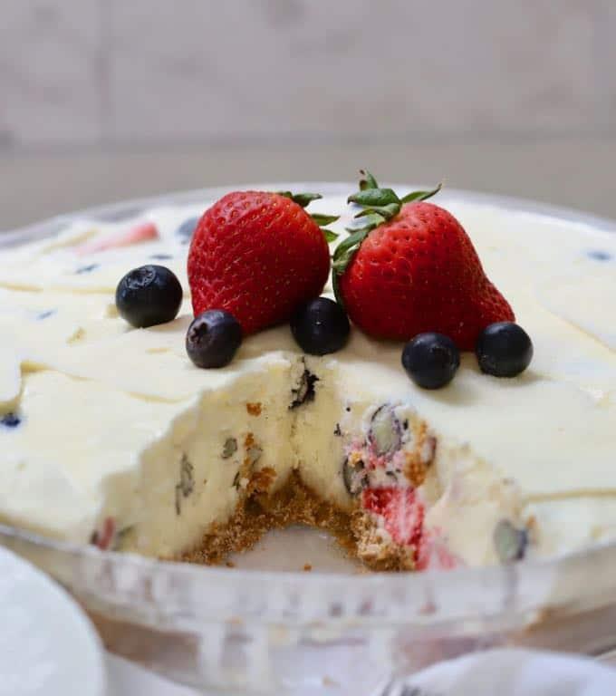 Red, White, and Blue Ice Cream Pie