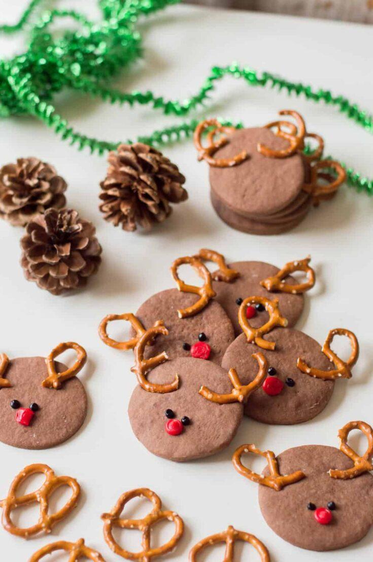 Chocolate Rudolph Sugar Cookies