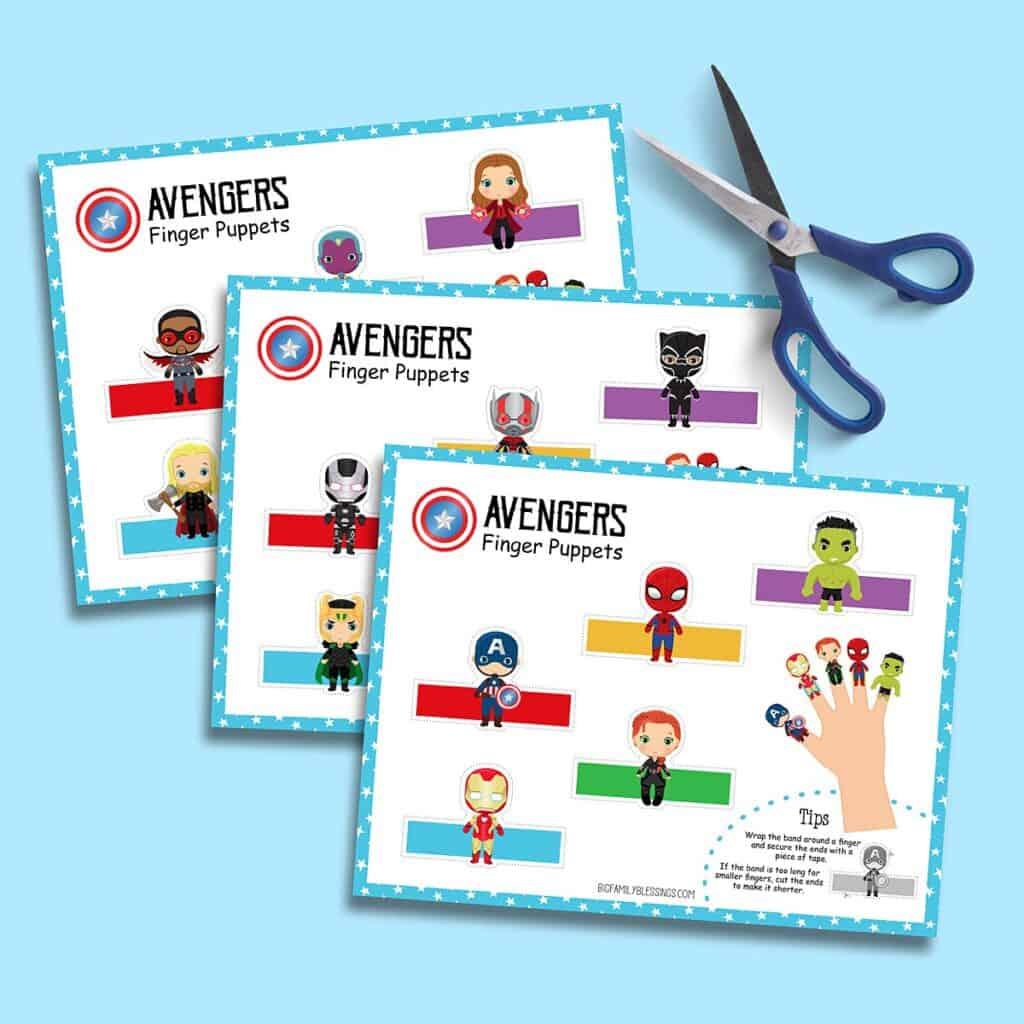 printable superhero finger puppets