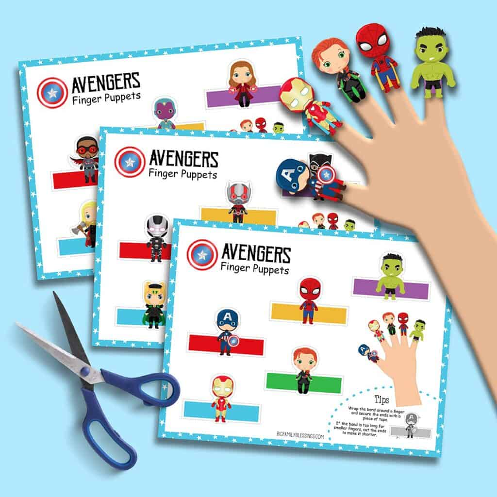 Free Printable Avengers Finger Puppets