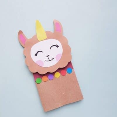 Paper Bag Llamacorn Puppet